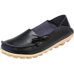 Serene Women's Leather Cowhide Casual Lace-up Flat Driving Loafers